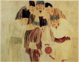 Emperor Taizu playing Cuju (1300 AD)